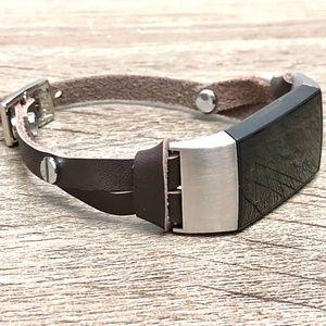 Dark Brown Slim Strap Charge 4 Leather Bracelet